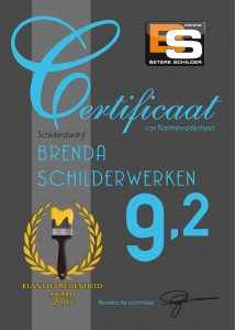 Certificaat Brenda Schilderwerken